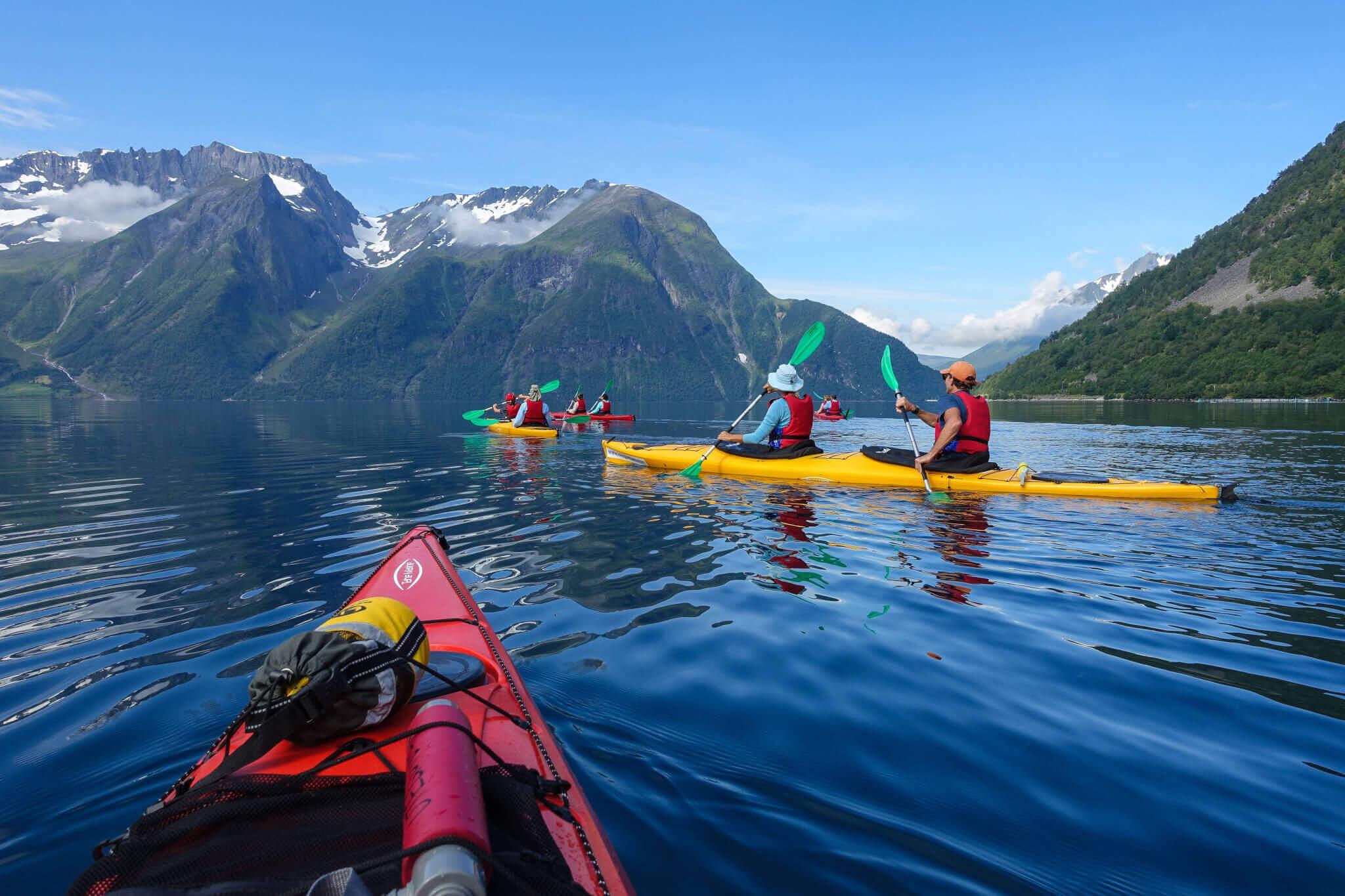 Kayak and hike in Hjørundfjorden